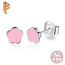 BELAWANG New Fashion Small Pink Star Shape 925 Sterling Silver Stud Earrings For Women