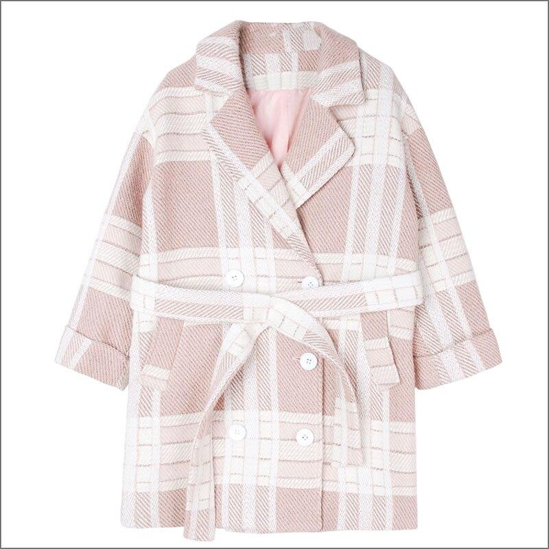 Haute Nouveau Dames Laine Manteaux Outwear Boutonnage Manteau Hiver Pink Mode Élégantes Qualité Femmes Double Chaud De Plaid Ceinture g1wvxqB