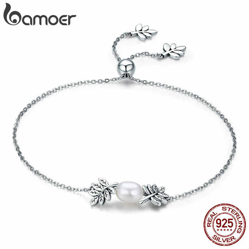 BAMOER New Arrival 925 Sterling Silver Olive Leaves Tree Leaf Women Strand Bracelet for Women Sterling Silver Jewelry SCB071