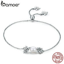 BAMOER New Arrival 925 Sterling Silver Olive Leaves Tree Leaf Women Strand Bracelet for Women Sterling Silver Jewelry SCB071(China)