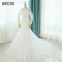 BEPEITHY Vestido De Novia Customized Brides Dress Long Sleeve Lace Bridal Gown Mermaid Wedding Dresses 2019