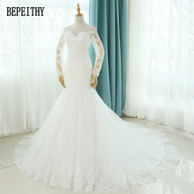 BEPEITHY Vestido De Novia Mermaid Wedding Dresses Court Train Long Sleeve Customized Cheap Brides Dress Long Lace Bridal Gown