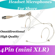MICWL Beige Comfortable Omni-Directivity Dual Hook Headset Microphone for Shure Wireless Headworn Bodypack System
