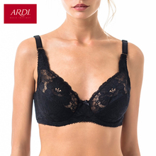 Woman's Bra Lace Black Demi Soft Cup Cotton Lining Large Size Big Breast Support 80 85 90 C D E ARDI Free Delivery N2004-10