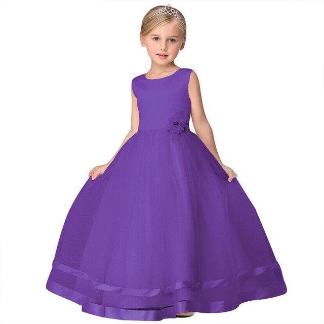 Long Wedding Dresses Kids Pparty Gown Pink Blue Red Purple Prom 2018 Children Graduation Gowns