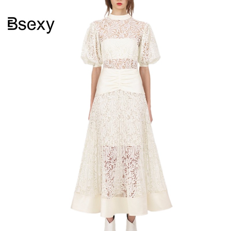 Top quality Women Maxi Lace Dress 2018 Boho Chic See Through Puff Sleeve  Pleated Long Dress cream Party Dress vestido de festa-in Dresses from  Women s ... 9150182eb78e