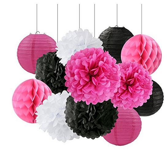 Tissue Craft Decoration Kit Black White Rose Red Paper Flower Tissue