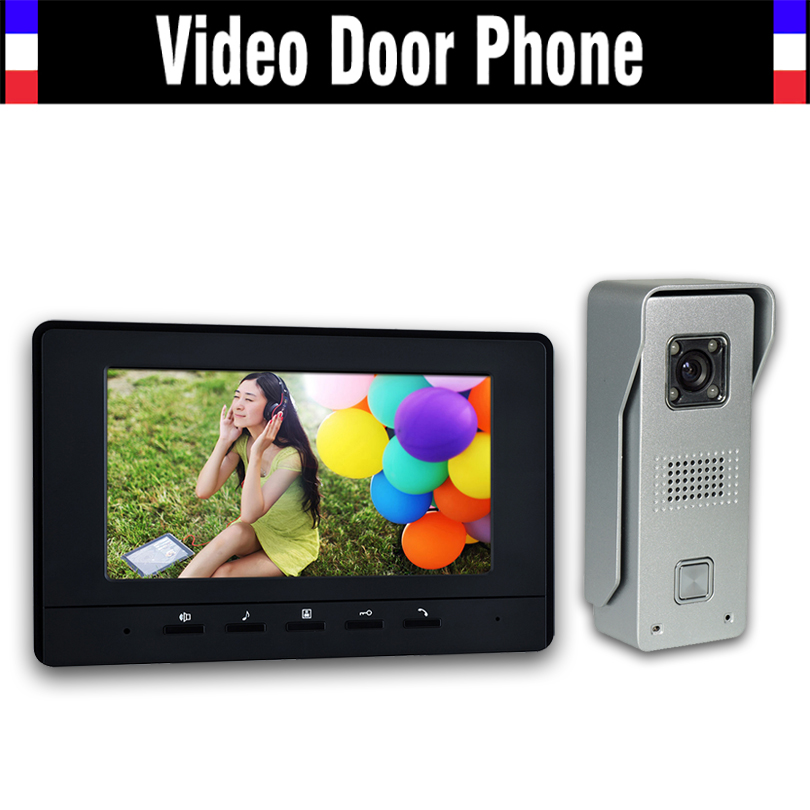 7 LCD Monitor Video Door Phone Intercom Doorbell System Home Video Intercom Kits IR night vision Camera Video Doorphone 7 inch video doorbell tft lcd hd screen wired video doorphone for villa one monitor with one metal outdoor unit night vision