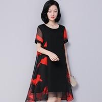 Women Summer 2019 New Large Size Silk Dress Retro Loose Printing Round Neck Dress Fashion Irregular Mid length A line Dress
