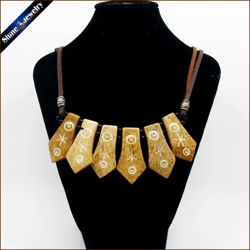 Vintage Tribal Jewelry Natural Yak Bone Carving Totem Leather Rope Chain Choker Chunky Statement Bib Necklace For Women Men NG05