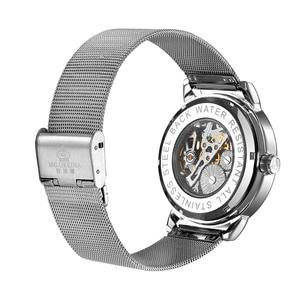 Image 3 - ORKINA Male Wristwatch Skeleton Dial Mechanical Hand wind Clock Mens Wrist Watches Stainless Steel Mesh Band Herren Armbanduhr