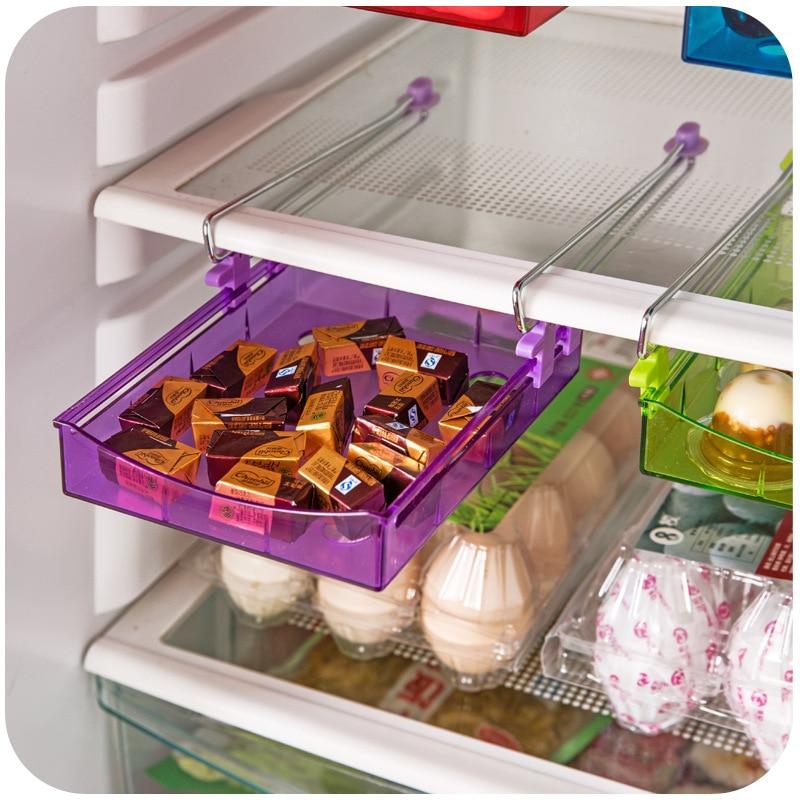 Spacer Sort Kitchen Supplies Plastic Refrigerator Storage Rack Fridge Freezer Shelf Holder Pull-out Drawer Organiser Space saver