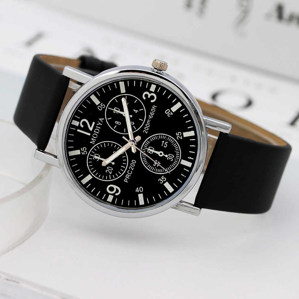Hot Mode Toevallige Quartz Horloge Mannen Blauw Glas Lederen Riem Mannelijke Business Horloge Reloj de hombre gratis verzending Drop Winkelen W