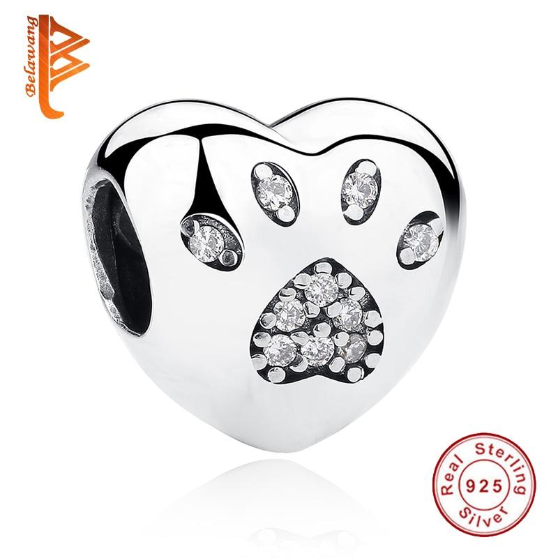 100% 925 Sterling Silver Pasja kroglica Evropska ljubezen Heart Charm - Lep nakit