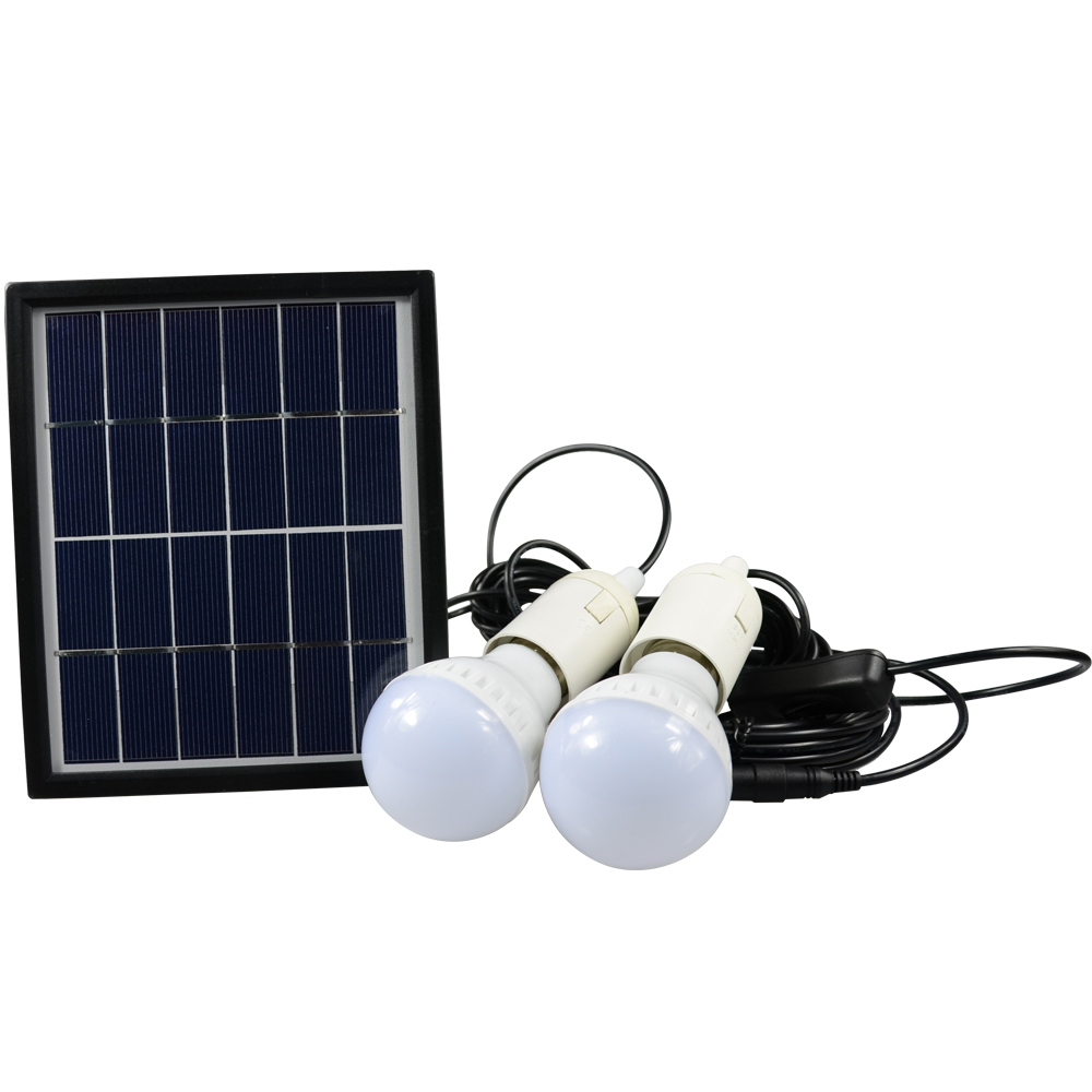 ФОТО Portable LED Outdoor Solar Lights System Kit Waterproof 2 Bulbs Mobile Phone Power Bank Rechargable Battery Camping Lighting