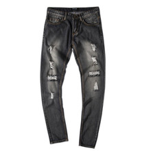 Men Jeans Slim Fit Straight Denim Vintage Style  Holes Jeans in Blue and Black Colour