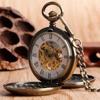 Antique Style Skeleton Hand Winding Pocket Watch Double Hunter Copper Roman Numerals Vintage Bronze Pendant Mens