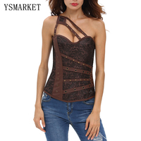 New Sexy Vintage PU Leather Women Corset Plus Size XL XXL Off The Shoulder Lace Up Top Bustier Slimming Bustier Corset S50020