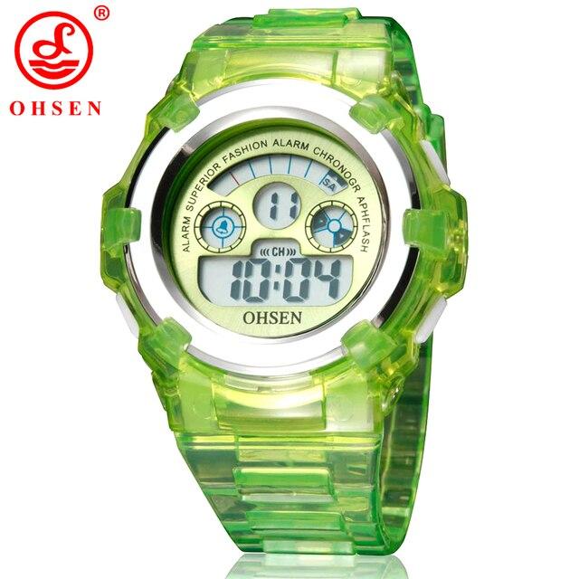 NEW 2017 OHSEN Digital Sports Watch Wristwatch Children Girls 30M Waterproof Sil
