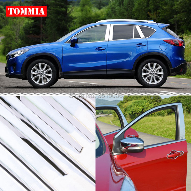 TOMMIA Full Window Middle Pillar Molding Sill Trim Chromium Styling Strips Stainless Steel For Mazda CX-5 2013-2015
