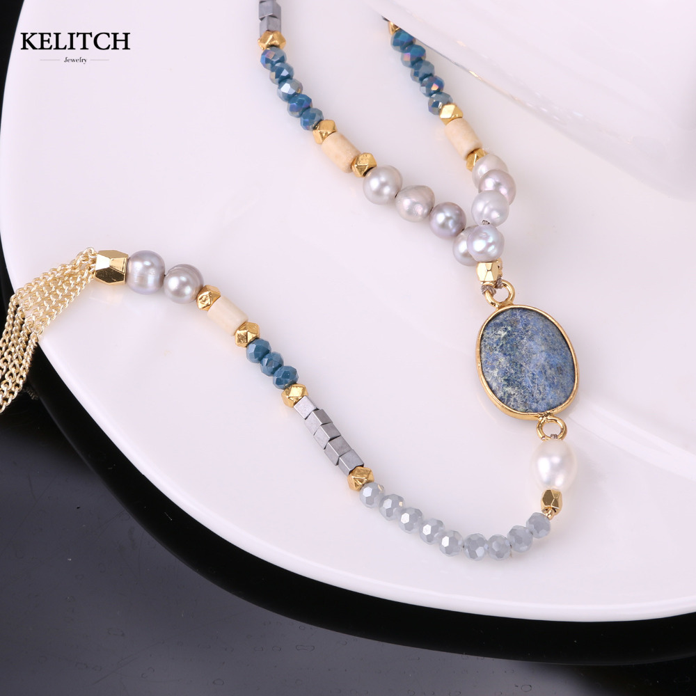 KELITCH Beads Necklace Jewelry stone necklace 1Pcs 2017 Newest Natural Pearl Gold Tassel Chain Sodalite For Women necklaces stylish faux gem decorated rhombus beads tassel necklace for women