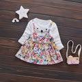 Жаркое Лето Девочка Платья Принцессы партия Ткань Младенческой Carttoon мышь печати dress Tutu одежда день рождения девушки костюм устанавливает цветок