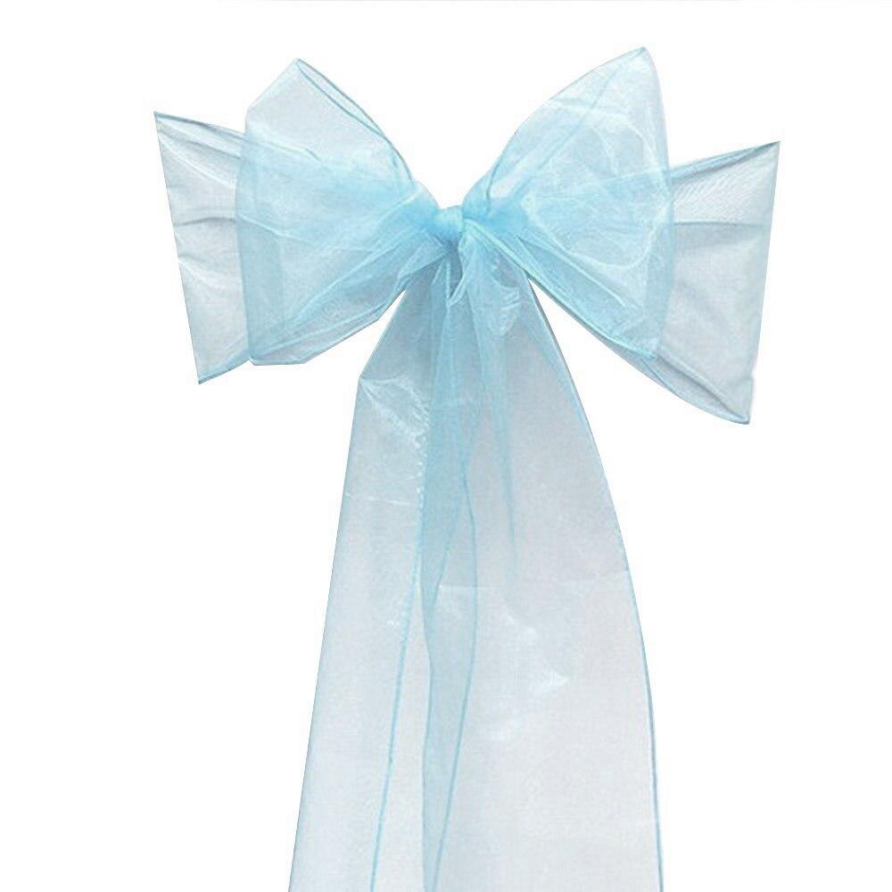 Phenomenal 50Pcs Light Blue Organza Chair Sashes Chair Sashes Party Interior Design Ideas Clesiryabchikinfo