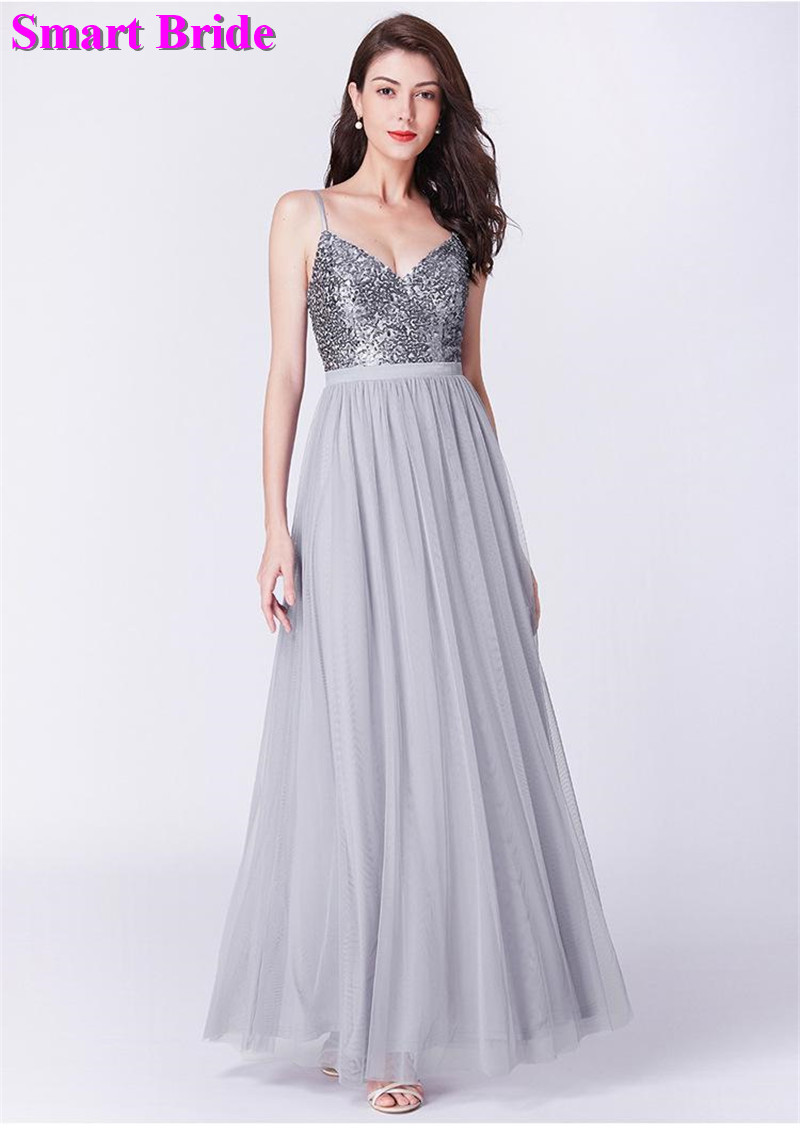 Sequins   Bridesmaid     Dresses   A line Double V Neck Tulle Floor Length Long Party Zipper Back Guest Prom Gown BD89