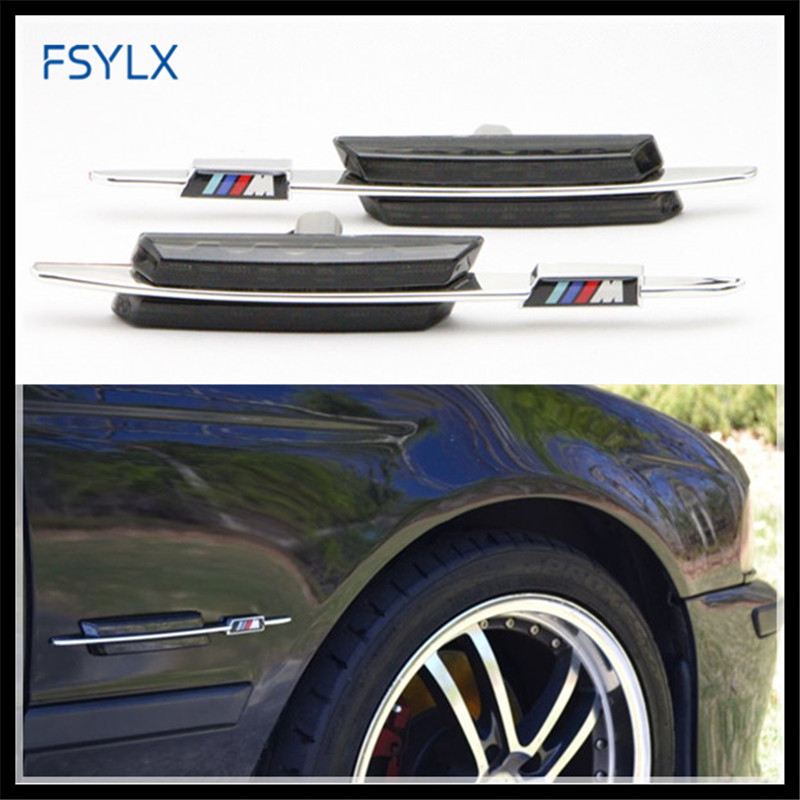 FSYLX Car LED side marker bulb LED Turn Signals Side light for BMW E81 E82 E87 E88 E90 E91 E92 E60 E61 LED Side Lamps for BMW free shipping 2x led turn signal side light auto parts led side marker car accessories with m logo for bmw e46 02 05 4d 5d