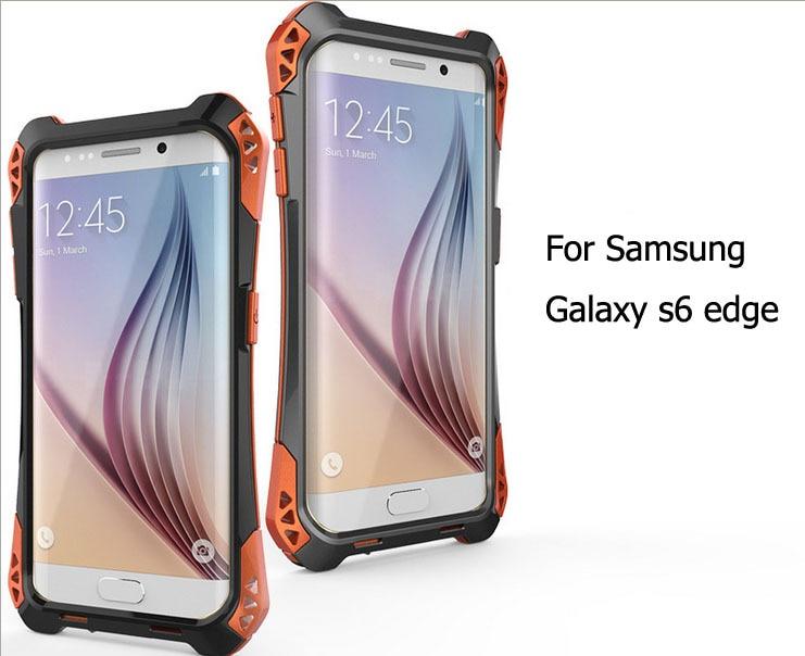bilder für R-Nur Erstklassiger Ausgeglichenes Glas Schnee Schmutz-beweis antiklopf Metall Fall-abdeckung Für Samsung Galaxy S6 Rand G9250 Wasserdicht Fall