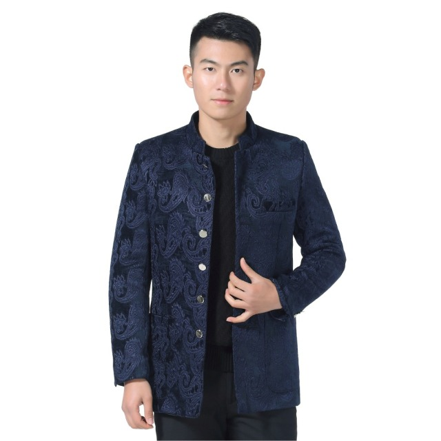 WAEOLSA Chinese Style Men Ethnical Suits Red Blue Jacquard Tunic Coats Man Mandarin Collar Mao Suit Oriental Embroidery Blazer
