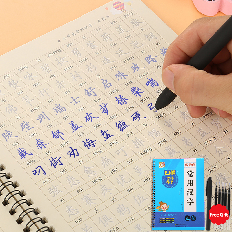 3D Reusable Groove Calligraphy copybook Erasable pen learn Chinese characters adultskids children Chinese writing books hsk(China)