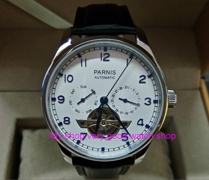 43mm PARNIS Automatic Self-Wind Mechanical movement men's watche multifunction Auto Date and Automatic week zdgd16a automatic spanish snacks automatic latin fruit machines