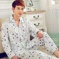 Pijama serviço de casa primavera e no outono new long-sleeved algodão lapelas dos homens cardigan