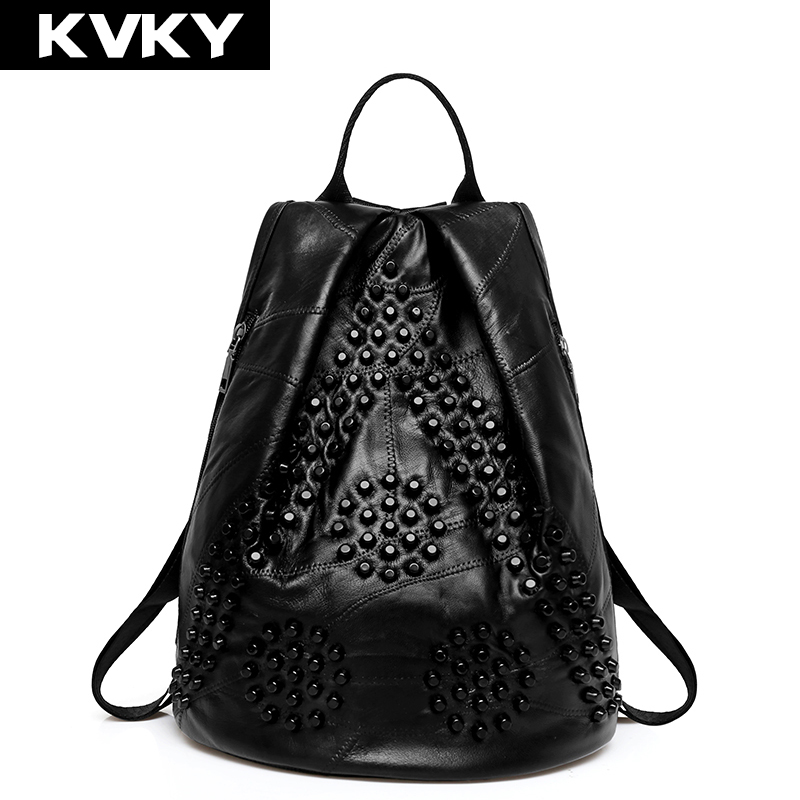 KVKY Brand Sheepskin Women's Backpacks Rivets Patchwork Leather Backpack Casual Travel Female Shoulder Bag For Girls School Bags brand bag backpack female genuine leather travel bag women shoulder daypacks hgih quality casual school bags for girl backpacks