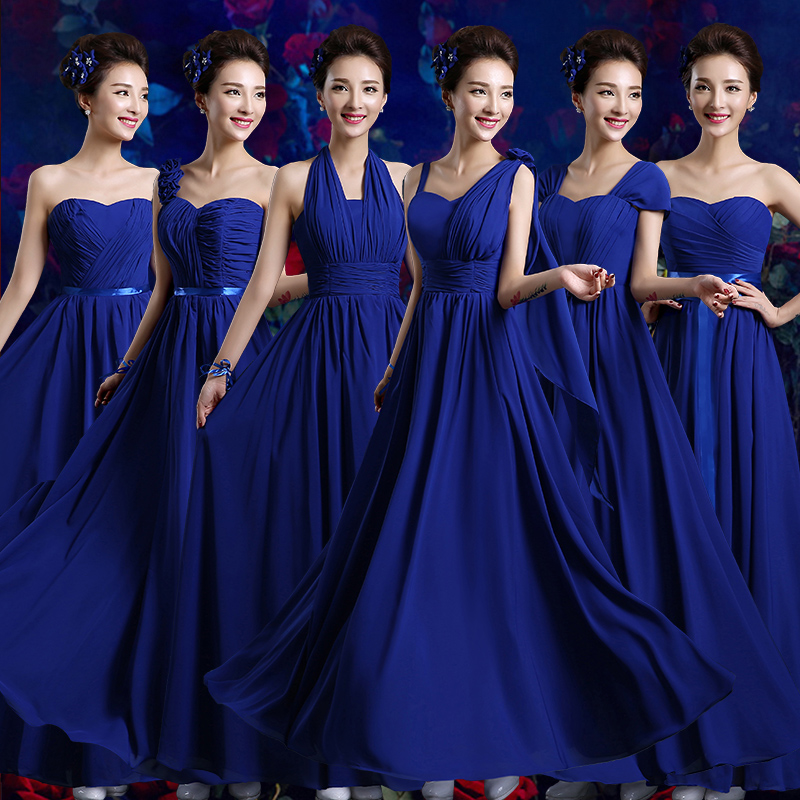 2017 new arrival long bridesmaid dress women formal gown adult royal blue modesty fashion a line