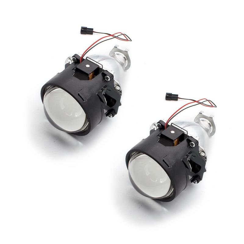 2.5 pouces bixenon projecteur lentille + masque linceul avec double ange yeux pour voiture HID phare projecteur lentille pour H1 H7 H4 - 4