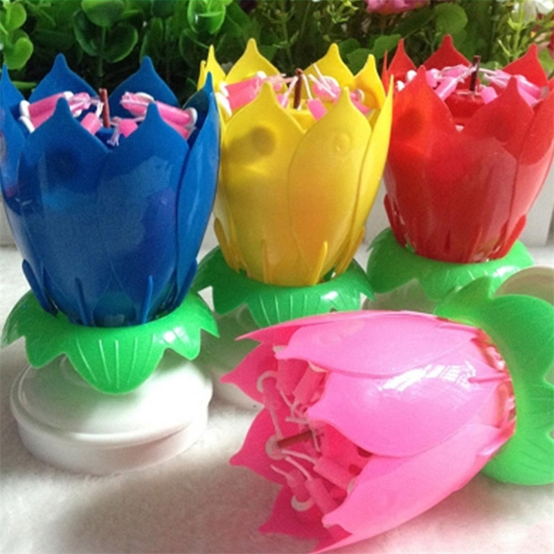 PERFECT MUSICAL LOTUS FLOWER HAPPY BIRTHDAY CANDLE PARTY GIFT PRESENT