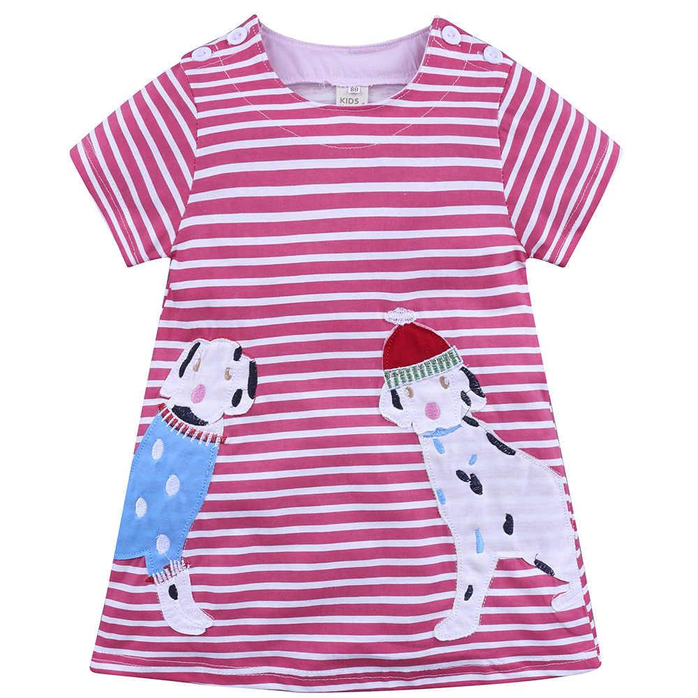 Летние платья для маленьких девочек; платье принцессы с принтом животных для девочек; хлопковые детские платья в полоску с рисунком для девочек
