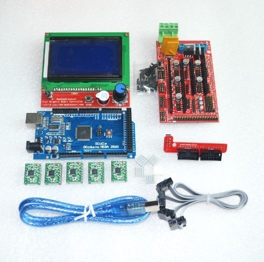 1pcs Mega 2560 R3 + 1pcs RAMPS 1.4 Controller + 5pcs A4988 Stepper Driver Module +1pcs 12864 controller for 3D Printer kit1pcs Mega 2560 R3 + 1pcs RAMPS 1.4 Controller + 5pcs A4988 Stepper Driver Module +1pcs 12864 controller for 3D Printer kit