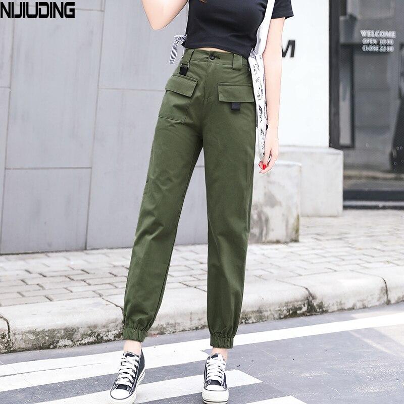 NIJIUDING High Waist   Pants   Solid Loose Joggers Women's Army Harem Camo   Pants   Streetwear Safari Style   Pants   Women   Capris   Trousers