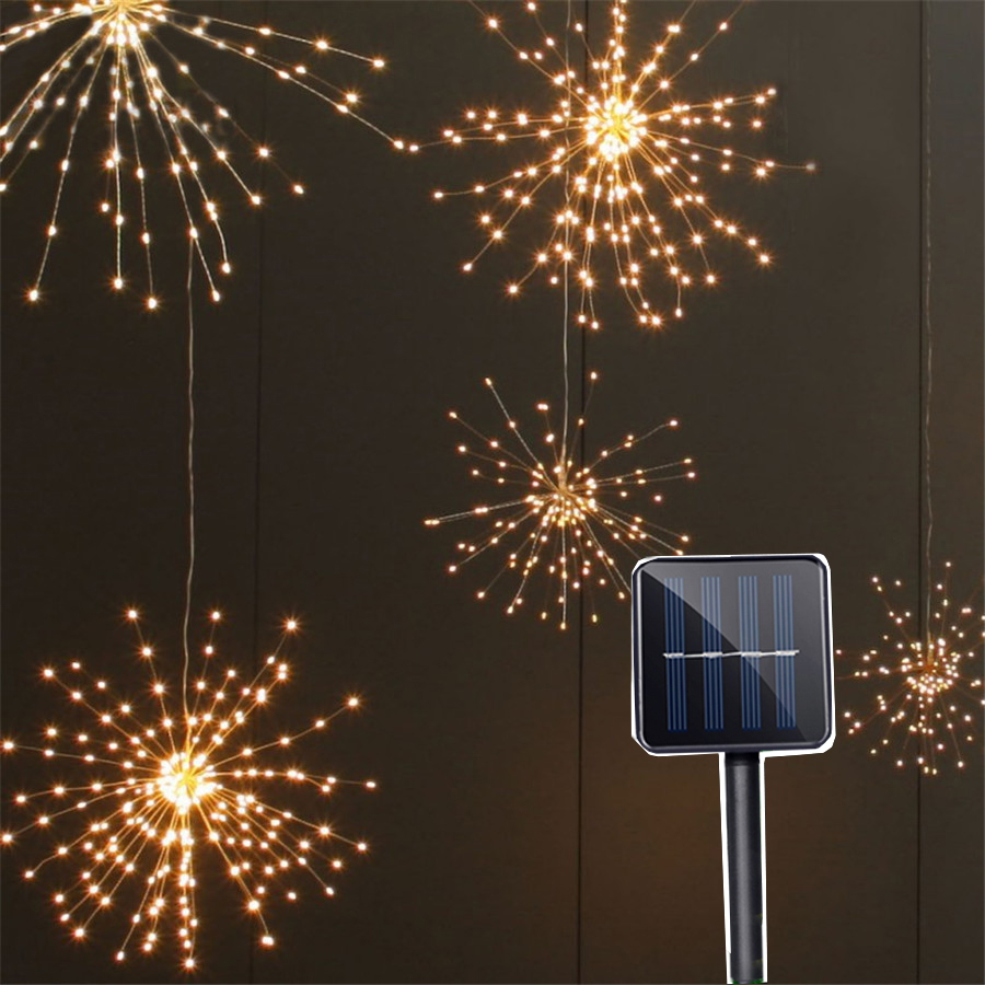Thrisdar 2PCS 200LED Solar Starburst Fairy String Light DIY Firework Explosion Star Copper Fairy Light Christmas Wedding Garland 200 leds diy hanging starburst string light solar powered firework copper fairy garland christmas wedding twinkle lights ca79