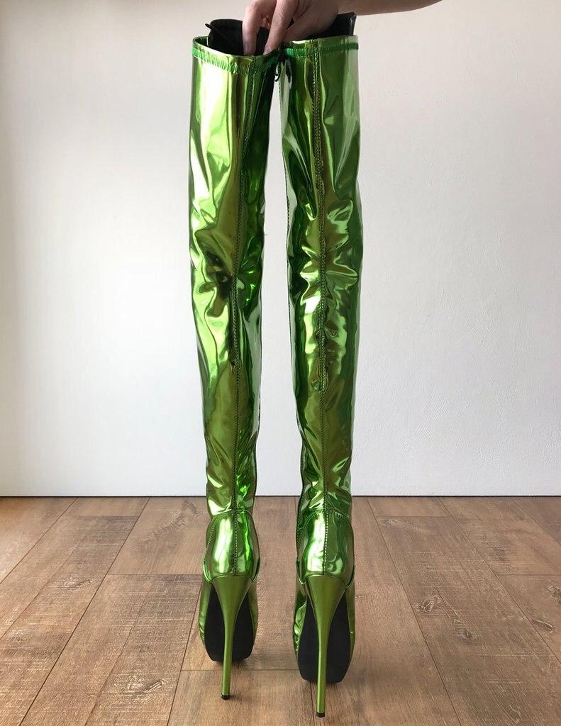 Haute Vert Sexy Femmes Fétiche Boot Bottes Talon Chaussures Cuisse 18 Cm Talons Extrême Ballet HYW2E9DI