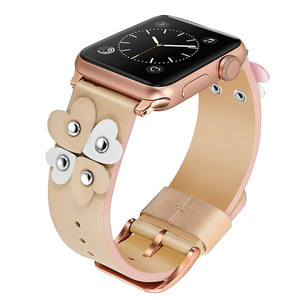 Image 2 - Bandream Women Leather Watchband for iWatch Apple Watch 5 4 3 2 1 44mm 40mm 42mm 38mm Wrist Band Female Strap Rose Gold Silver