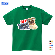 Summer Cartoon Puppy Dog Friends Print Tee Tops for Boy Girls Kids Clothes Funny T Shirt Kids T Shirt  Girls Tops  Girls Shirts girls mixed print patched tee