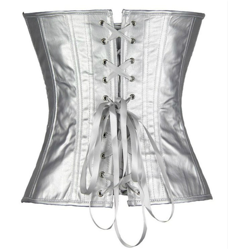 Image 2 - Sapubonva women vintage style corset bustier top gold silver overbust corset leather nightclub sexy corset lingerie strapless-in Bustiers & Corsets from Underwear & Sleepwears