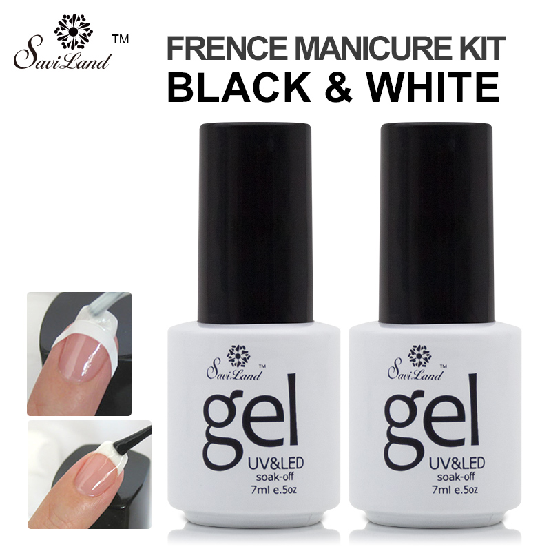 Buy Saviland 2pcs French Manicure Nail Gel Kit Nail Art Free Tip Guides Stickers UV LED Curing Long Lasting Gel Nail Polish for $2.63 in AliExpress store