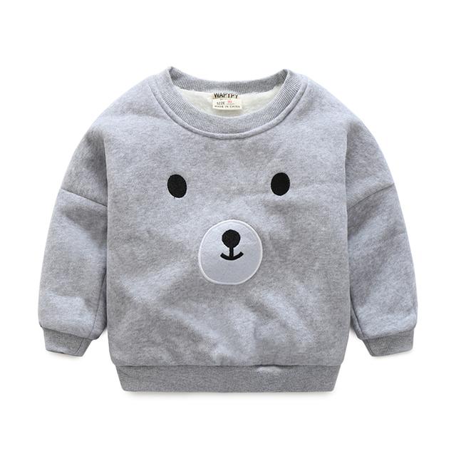 2017 del invierno del cabrito sudaderas niños sudaderas fleece dentro engrosamiento de la historieta sudadera suéter superior ocasional