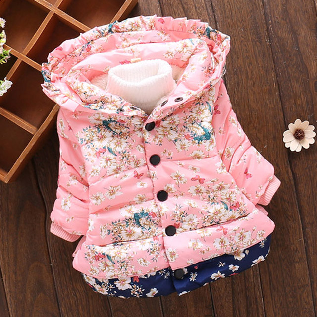 KEAIYOUHUO 2018 Winter Jackets For Girls Clothes Outerwear Long Sleeve Hooded Dwon Jackets Cotton Baby Girls Coats Kids Clothing