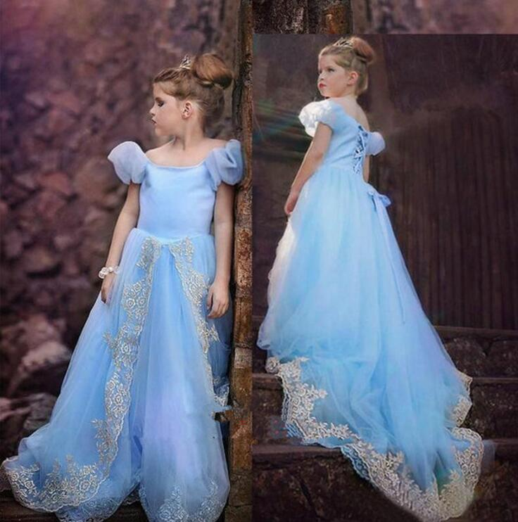 2018 Royal Blue Ball Gown   Flower     Girl     Dresses   Short Sleeves For Wedding Party Lace Up Court Train Little Bride   Dress   M1175
